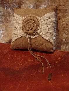 Burlap Lace Flower Design Ring Bearer Pillow by RefunkedJunkies, $35.00