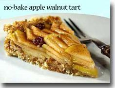 No-Bake Apple Walnut Tart Tart Recipes, Raw Food Recipes, Gluten Free Recipes, Dessert Recipes, Healthy Recipes, Healthy Desserts, Just Desserts, Passover Desserts, Passover Recipes
