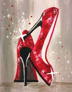 Let's Dance in Red Sparkling Shoes - Paint Nite Painting