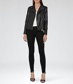 Shelby Black Leather Biker Jacket - REISS