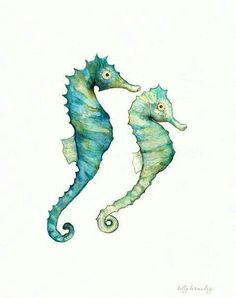 Seahorse Love /watercolor print/teal/light green/aqua/tan/sea/ocean life…