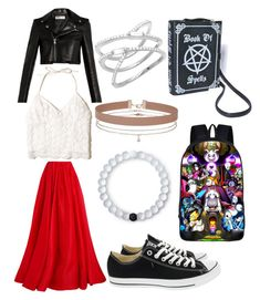 """""""White red and black"""" by motogirl2414 ❤ liked on Polyvore featuring Reem Acra, Hollister Co., Yves Saint Laurent, Converse, Lokai and Miss Selfridge"""