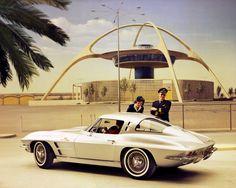 1963 Corvette Stingray in front of the Theme Building in LAX in sports cars vs lamborghini sport cars cars Chevrolet Corvette, Corvette C2, Corvette Summer, Classic Corvette, Corvette History, Classic Chevrolet, Stingray Corvette, Ford Motor Company, Maserati