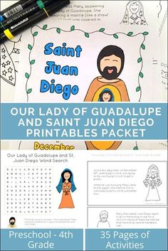 packet of worksheets about Our Lady of Guadalupe and Saint Juan Diego. Perfect for Catholic children learning more about Our Lady of Guadalupe. Catholic Saints For Kids, Catholic Crafts, Catholic Children, Catholic School, Printable Activities For Kids, Kindergarten Activities, Advent Activities, Teaching Kids, Kids Learning
