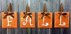 PlaceOfMyTaste: 15 FALL DECOR IDEAS 15 fall decor ideas - come see this great collection of fall decor ideas Thanksgiving Crafts, Fall Crafts, Holiday Crafts, Party Crafts, Holiday Fun, Wooden Alphabet Blocks, Wood Blocks, Fall Projects, Craft Projects