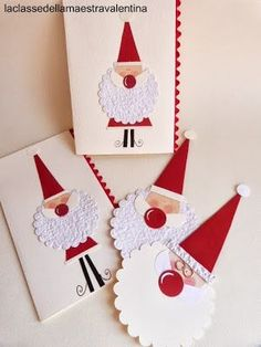 Cute Santa cards and tags. Homemade Christmas Cards, Noel Christmas, Christmas Gift Tags, Homemade Cards, Handmade Christmas, Diy Christmas Activities, Holiday Crafts, Punch Art Cards, Theme Noel