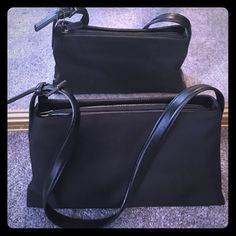 Elegant Coach Purse - Black NWOT Never been used. Leather strap and leather bottom. Zip inside and zip on top. Perfect for elegance and class. Will fit your wallet, phone, AND a small water bottle. Can also be a fantastic gift. Coach Bags Shoulder Bags