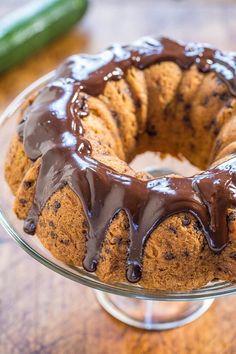 """Zucchini Chocolate Chip Bundt Cake with Chocolate Ganache Recipe: https://t.co/jRsckx2VJR #foodporn"""