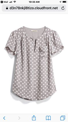 Another great polka dot blouse, don't mind that gray at all but what about a color that really POps?I like the gray with polka dots, short sleeves, flowy fit, nice for workI love this top Stitch Fix!This top would be cute with colored skinnies or c Casual Outfits, Cute Outfits, Fashion Outfits, Blouse Styles, Blouse Designs, Polka Dot Blouse, Polka Dots, Stitch Fit, Stitch Fix Outfits
