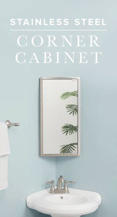 The Kugler Stainless Steel Corner Medicine Cabinet is the perfect solution for adding storage to any small bathroom. Maximize your space by adding a corner sink and toilet. Corner Mirror, Corner Sink Bathroom, Small Bathroom Storage, Wood Bathroom, Corner Mantle, Corner Toilet, Bathroom Plumbing, Mirror Bathroom, Downstairs Bathroom