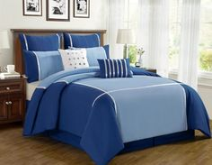 8 Piece King Vienna Blue Comforter Set *** More info could be found at the image url. Blue Comforter Sets, Queen Bedding Sets, King Comforter, Queen Beds, Blue Bedspread, Relaxation Room, Linen Bedroom, Buy Bed, Bedding Collections