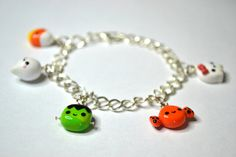 kawaii polymer clay charms | Halloween Kawaii Polymer Clay Charm Bracelet by CheekyCharmz