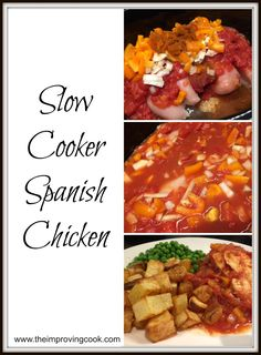 Slow Cooker Spanish Chicken- a low calorie dinner recipe with chicken breasts, tomato paprika and packed with veggies. Its syn-free on Slimming World and great for freezer meals. recipes with chicken Healthy Slow Cooker, Slow Cooker Recipes, Cooking Recipes, Healthy Recipes, Crockpot Recipes, Healthy Food, Meal Recipes, Recipes Dinner, Potato Recipes