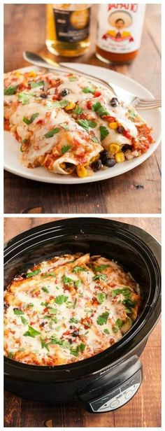 Slow Cooker Vegetarian Black Bean Enchiladas Recipe from The Kitchn [Featured on SlowCookerFromScratch.com]