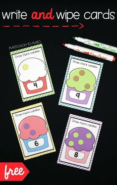 Awesome write and wipe addition cards! Draw the candies to make the number written on the ice cream cup. Fun math idea and activity for preschool or kindergarten.