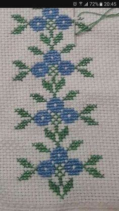 Cross Stitch Boarders, Cross Stitch Letters, Simple Cross Stitch, Cross Stitch Rose, Cross Stitch Flowers, Cross Stitch Designs, Cross Stitch Embroidery, Hand Embroidery Flowers, Embroidery Patterns