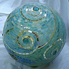 gazing ball - beautiful spiral pattern  - from a bowling ball