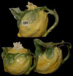 3 Piece Royal Bayreuth figural lemon Tea Set which consist of the tea pot, sugar and creamer
