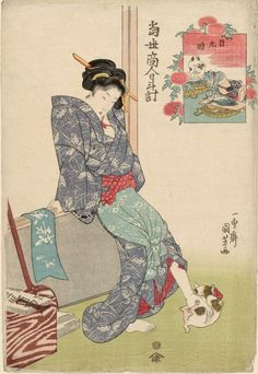 Noon by Kuniyoshi; from the Sundial of Modern Tradesmen series (1820s).