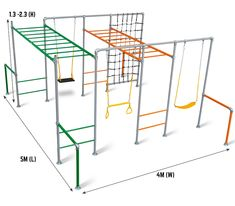 The Marmoset is for lots of kids features two monkey bars that can be set at different heights and in different colour sand four stations to hang swings and climbing nets and other accessories. Backyard Gym, Backyard Playground, Backyard Ideas, Nest Swing, Double Swing, Sensory Rooms, Build Your Own House, Playground Design, Kids Play Area
