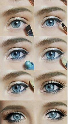 Mooie oogmake-up voor blauwe ogen.