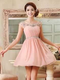 Ericdress Jewel Neck Beading Ruffles Short Homecoming Dress Homecoming Dresses 2015- ericdress.com 11402115