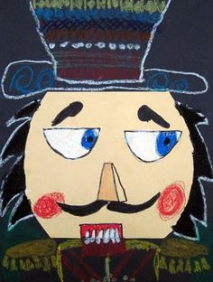 Nutcracker Close-Up: cut paper face, oil pastel and marker