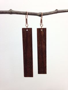 Hand carved Black Walnut and copper earrings.