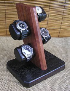 Bubinga / Wenge Watch Stand Watch Display by OnondagaHillWoodwork