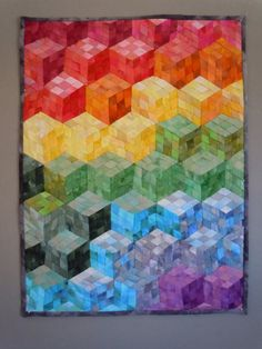 Tumbling Blocks Wall Hanging by UniqJackets on Etsy, $485.00