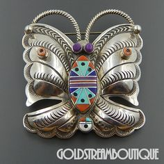 Native American Chester Benally Navajo 925 Silver Gemstone Mosaic Inlay Butterfly Pin Pendant