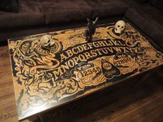 Ouija Coffee Table: 11 Steps (with Pictures) 😍 Tattoo Shop Decor, Tatto Shop, Unique Coffee Table, Diy Coffee Table, Tattoo Studio, Coffee Table Inspiration, Horror Decor, Goth Home Decor, Maila