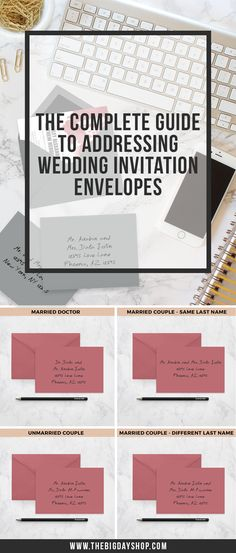 If you've been wondering how to address your wedding invitation envelopes, you've just come across a gold mine!!! Your wedding invitation envelopes must be carefully crafted and addressed to every individual on your guest list! Here's a complete guide to addressing your guests... Mr., Mrs., Ms., Miss, Mister?! We've got you covered!   Click for instant access to The Complete Guide to Addressing Wedding Invitation Envelopes.