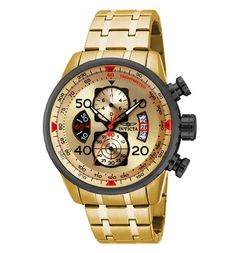 Invicta Uomo Aviator Quarzo Chrono Color Oro Orologio in Acciaio Inox 17205 Stainless Steel Watch, Stainless Steel Bracelet, Gold Models, Black Aviators, 100m, Luxury Watches For Men, Cool Watches, Men's Watches, Invicta Mens Watches