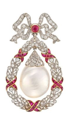 A Belle Epoque freshwater natural pearl, ruby and diamond brooch pendant, circa 1905. The circular-cut ruby and single-cut diamond ribbon bow surmount suspending a large natural freshwater baroque pearl drop with rose-cut diamond cap, within a single-cut diamond millegrain-set wreath surround, accented by calibré-cut ruby ribbons, detachable fittings.