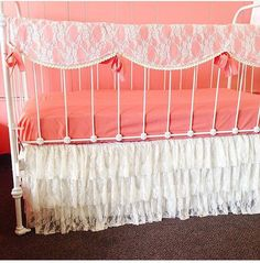Bumperless Salmon and Lace Baby Crib Bedding by WHIMSICALandWITTY
