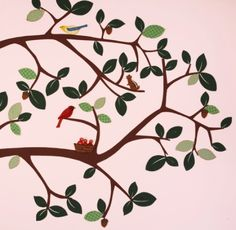 Pretty Pink,  Tree With Red Bird, Wallpaper For Angie's Room