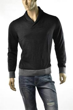 Armani Exchange Sweater Mens Sweaters A/X Black Tonal Pullover Jumper Sz L New #ArmaniExchange #Pullover #5Gables
