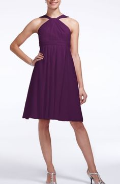 Short Crinkle Chiffon Y Neck Dress Style F15600 | David's Bridal | Purple Ombre Wedding | Plum | Bridesmaid dress with silver shoes