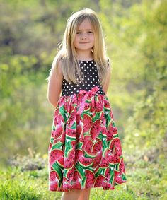 Look what I found on #zulily! Pink & Red Melon Polka Dot Dress - Infant, Toddler & Girls #zulilyfinds