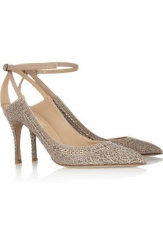 Valentino Crystal-studded suede pumps.