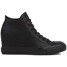Converse Women's Chuck Taylor All Star Lux Embossed Reptile Mid Top... (5,835 INR) ❤ liked on Polyvore featuring shoes, sneakers, black, leather wedge sneakers, black laced shoes, black leather shoes, black shoes and black sneakers