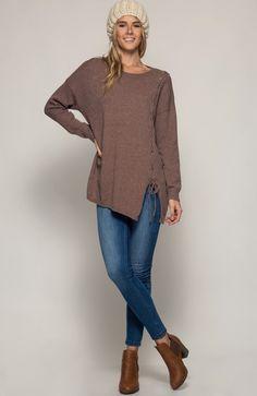 She & Sky Lace Up Oversized Sweater in Mocha - Bella Funk Boutique