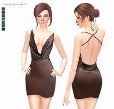DRAPED SATIN DRESS at Leeloo via Sims 4 Updates