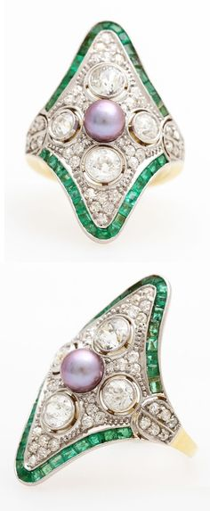 An Art Deco platinum, gold, diamond, cultured pearl and emerald ring. #ArtDeco #ring