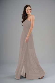 0b9aa7ca09 B203053 One-Shoulder Poly Chiffon   Lace Long Bridesmaid Dress