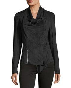 Faux-Suede Double-Zip Jacket