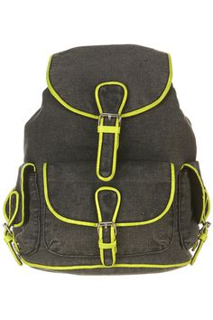 """10 Smart And Stylish """"School"""" Bags   http://www.refinery29.com/school-bags#slide9  Topshop Neon Trim Denim Backpack, $68, available at Topshop."""