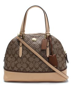 Khaki & Tan Domed Peyton Satchel | zulily