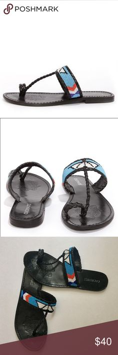 Beaded Sandals Coconuts Tonto Black beaded thong Sandals. Braided black leather sprouts from a whip stitched toe look nearing a beaded strap in shades of blue white and coral red. Only worn once. Nordstrom Shoes Sandals